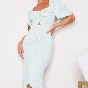 Sage with white polka dot dress. Size 10 UK 6-8 US